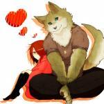 anthro barefoot blue_eyes canine cute duo eye_contact female human kemono lila_(kashiwagi_aki) love male mammal muscular sitting wolf yakantuzura zinovyRating: SafeScore: 20User: Boku_no_FurfagDate: March 25, 2014
