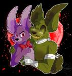 2017 amanddica bandage bonnie_(fnaf) bow_tie digital_media_(artwork) duo five_nights_at_freddy's five_nights_at_freddy's_3 glowing glowing_eyes lagomorph male male/male mammal rabbit springtrap_(fnaf) video_games
