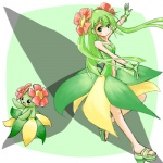 alternate_species bellossom cosplay duo female flora_fauna green_eyes green_hair hair human humanized humanoid long_hair low_res mammal nintendo plant pokémon pokémon_trainer ranphafranboise video_games