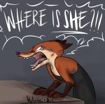 2017 angry anthro blood canine clothing dialogue disney english_text fox fur hi_res holmssie male mammal nick_wilde nosebleed open_mouth solo tears teeth text tongue wounded yelling zootopia