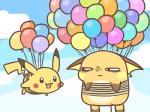 2018 balloon nintendo open_mouth outside pikachu pokémon pokémon_(species) raichu rairai-no26-chu rope sky video_gamesRating: SafeScore: 2User: theultraDate: April 23, 2018