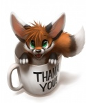 2013 4_fingers ambiguous_gender black_fur black_nose canine coffee_mug cup cute dipstick_ears dipstick_tail english_text eye_reflection feral fluffy fluffy_tail fox front_view fur green_eyes hair high-angle_view in_container in_cup inner_ear_fluff looking_at_viewer mammal multicolored_tail nude open_mouth orange_fur reflection simple_background smile solo text thanshuhai white_background white_fur