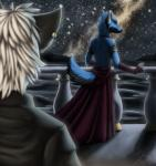 2013 ambiguous_gender anthro armwear balcony biped black_ears blue_fur blue_hair blue_tail canine clothed clothing detailed_background dress duo fur grey_clothing grey_shirt grey_topwear hair limizuki limizuki_(character) mammal night outside raphial raphial_(character) rear_view red_armwear red_clothing sea shadow shirt sky space spacescape topwear water white_hair wolfRating: SafeScore: 5User: LimizukiDate: December 25, 2013