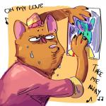 anthro burgerpants clothed clothing digital_media_(artwork) feline fur hat hi_res humor lagomorph mammal musical_note nicecream_man open_mouth rabbit singing stated_homosexuality sweat undertale unknown_artist video_games