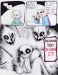 ... aftertale bone clothed clothing comic counter dialogue english_text hair human loverofpiggies mammal not_furry protagonist_(undertale) sans_(undertale) skeleton smile teeth text undead undertale video_games
