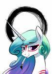 2018 blue_hair digital_media_(artwork) equine eyelashes female friendship_is_magic hair headshot_portrait horn mammal my_little_pony portrait princess_celestia_(mlp) underpable unicorn video_games ŌkamiRating: SafeScore: 3User: MillcoreDate: March 14, 2018