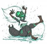1_eye 5_toes alien barefoot beak breasts butt cartoon_network centipeetle claws clothing galaxy-confetti gem_(species) hair humanoid monstrous_humanoid open_mouth raining saliva solo steven_universe tears toes tongue tongue_out torn_clothing wet white_hair