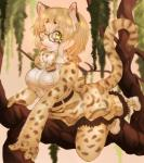 alternate_species anthro anthrofied blonde_hair blush bow_tie breasts clothed clothing daiha eyewear feline female footwear fur glasses green_eyes hair hi_res kemono_friends leaves legwear mammal margay margay_(kemono_friends) shirt shoes short_hair skirt slit_pupils solo spots spotted_fur spotted_tail tights tree
