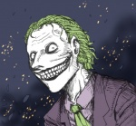 batman_(series) clothed clothing dc_comics green_hair hair human joker looking_at_viewer male mammal necktie nightmare_fuel not_furry rape_face smile solo suit teeth the_dark_knight uncanny_valley unknown_artist