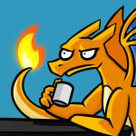 2017 anonymous_artist blue_background charizard coffee_mug cup digital_drawing_(artwork) digital_media_(artwork) dragon fire frown holding_cup male nintendo orange_body parody pokémon pokémon_(species) reaction_image side_view signature simple_background sitting solo stare table tan_body too_early_for_this two_tone_body video_games wings