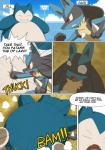 2017 absurd_res ambiguous_gender anthro burn comic duo english_text hi_res insult lucario nintendo overweight pokémon smaller_version_at_source snorlax speech_bubble text video_games winick-limRating: SafeScore: 10User: VelociripperDate: June 15, 2017