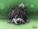 2012 4:3 ambiguous_gender arrwulf canine cub cute dark_grey_hair feral fur grey_fur grey_hair hair looking_at_viewer mammal playful solo wolf young