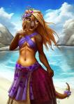 amber_eyes anthro avian beach bird blonde_hair bow clothed clothing cloud day female flower fossa hair long_hair mammal navel outside plant sea seaside skirt sky smile solo standing stone tasanko water