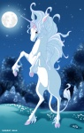 2004 amalthea equine female feral hooves horn ignigeno mammal moon night outside sky solo star starry_sky the_last_unicorn unicorn