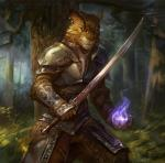 anthro armor chest_armor detailed detailed_background ear_piercing feline forest fur gugu-troll holding_object holding_weapon khajiit leather leather_straps looking_at_viewer magic male mammal medieval_armor melee_weapon metal nature outside piercing skyrim solo standing sword the_elder_scrolls tree vambraces video_games weapon wood