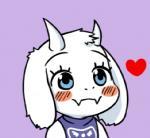 <3 anthro blue_eyes blush boss_monster caprine cute eyebrows eyelashes fangs female food goat horn katzlok low_res mammal ohayou pie reaction_image simple_background solo toriel undertale video_gamesRating: SafeScore: 27User: NujiDate: March 04, 2017
