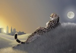2010 anthro black_nose breasts butt cheetah city detailed_background feline female fur grass hill king_cheetah lying mammal moon myenia nude outside photorealism side_boob sky skyline solo spots spotted_fur sunset whiskersRating: SafeScore: 22User: TauxieraDate: July 22, 2010
