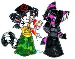 anthro canine chibi clothed clothing duo_focus ear_piercing eyes_closed female fish group leelee lemur low_res mammal marine pants piercing primate shirt tank_top water zeriara zeriara_(character)Rating: SafeScore: 0User: The Dog In Your GuitarDate: April 23, 2007