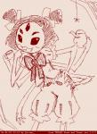 arachnid arthropod fangs female hair_bow hair_ribbon humanoid itimu monochrome muffet multi_eye multi_limb pigtails ribbons simple_background solo spider undertale video_games
