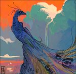 2005 amara_telgemeier ambiguous_gender avian beak bird cloud feathers feral peacock_feather peafowl solo sunset