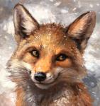 2017 abstract_background ambiguous_gender black_fur black_lips black_nose canine day detailed feral fluffy fox front_view fur headshot_portrait inner_ear_fluff kenket long_mouth looking_away mammal no_sclera orange_eyes orange_fur painting_(artwork) portrait red_fox shadow slit_pupils smile snout snow snowing solo traditional_media_(artwork) whiskers white_fur