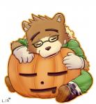 2017 anthro bear clothing eyewear food fruit glasses gloves hat male mammal pumpkin simple_background sitting sleeping solo straw_hat tokyo_afterschool_summoners volos white_background