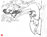 anthro branch canine digimon eyes_closed female fur kitsune_netsuki mammal monochrome on_branch renamon sleeping solo tree wood