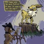 annoyed black_nose brown_fur canvas collar creating_art dialogue duo easel eeveelution english_text erebus feral fur grass hat haughty hi_res jolteon male mammal multicolored_fur neck_tuft nintendo nude nude_modelling open_mouth paint paintdog paintdog_(artist) painting paws pokémon pose smeargle stump tan_fur teeth text tuft two_tone_fur video_games white_fur wristband yellow_fur