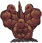 black_eyes brown_theme dugtrio group humor hyper macho male manly muscular nintendo pokémon pokémon_(species) pose sido_(slipknot) simple_background team_pose this_isnt_even_my_final_form video_games white_background