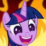 2016 badumsquish equine female fire friendship_is_magic fur hair horn laugh mammal multicolored_hair my_little_pony purple_eyes purple_fur solo twilight_sparkle_(mlp) unicorn