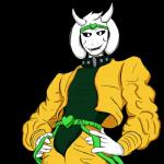 2015 anthro asriel_dreemurr black_sclera boss_monster caprine clothed clothing cosplay dio_brando fallen-justice fur goat hi_res horn jojo's_bizarre_adventure male mammal simple_background solo undertale video_games white_fur