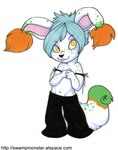 aiden_(disambiguation) anthro big_ears big_head blue_hair cabbit cat clothed clothing cub cute dipstick_ears dipstick_tail ear_tuft feline front_view fur green_fur hair hands_together hybrid lagomorph looking_at_viewer male mammal multicolored_eyes multicolored_tail orange_eyes pants rabbit short_hair smile solo spots standing topless tuft white_fur yellow_eyes young zeriaraRating: SafeScore: 1User: The Dog In Your GuitarDate: May 11, 2007
