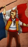 1789 2013 anthro canine clothed clothing dobe doberman dog flag france french french_flag french_revolution fur gun hi_res male mammal multicolored_fur music open_mouth pants paper-wings pointy_ears raidy_and_dobe ranged_weapon shirt solo sound tan_fur teeth weapon