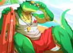 + 2014 abs anthro athletic beach biceps big_muscles claws clothing crocodile crocodilian detailed_background digital_media_(artwork) eyewear fangs glasses green_skin grin horn league_of_legends lifeguard looking_at_viewer male muscular muscular_male orange_eyes outside pecs pose rabbity red_bottomwear red_clothing renekton reptile rescue_buoy riot_games sand scales scalie sea seaside shirt shirt_logo shorts sitting sky smile solo spread_legs spreading sunglasses tank_top teeth tight_clothing video_games water whistle white_clothing white_topwear yellow_skin