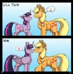2018 applejack_(mlp) blush cowboy_hat duo equine female freckles friendship_is_magic hat horn horse inuhoshi-to-darkpen mammal my_little_pony pony size_difference stetson twilight_sparkle_(mlp) unicorn winged_unicorn wingsRating: SafeScore: 3User: 2DUKDate: May 24, 2018
