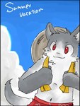 anthro canine clothed clothing cloud cloudscape cute day front_view fur green_bell grey_fur kemono looking_at_viewer low_res male mammal outside red_eyes sky solo topless white_furRating: SafeScore: 0User: The Dog In Your GuitarDate: March 25, 2007