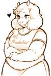<3 anthro boss_monster caprine clothed clothing english_text eyelashes fangs female fur goat gummy_(artist) horn mammal monochrome simple_background slightly_chubby solo text toriel undertale video_games white_backgroundRating: SafeScore: 28User: NujiDate: April 11, 2017
