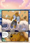 beach bear blood clothing comic male mammal money sand seaside spanish_text text translated yasserlion