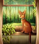 2016 ambiguous_gender brown_fur cat collar day detailed_background digital_media_(artwork) feline feral forest fur green_eyes inside mammal maplespyder sitting solo tree windowRating: SafeScore: 4User: MillcoreDate: January 23, 2018