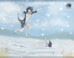 anthro blue_fur casual_nudity claws cloud detailed_background duo frown fur green_eyes happy jumping male mammal natalie_de_corsair nude open_mouth outside raised_arm sergal sky smile snow teeth tongue tree twigs white_fur wood