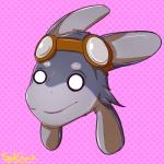 2018 ambiguous_gender anthro avali big_ears cute digital_drawing_(artwork) digital_media_(artwork) empty_eyes eyewear fur goggles hair headshot_portrait hi_res paws_(character) portrait smile solo spudshark starbound text video_games