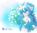 4_fingers abstract_background anthro blue_fur blue_hair canine claws cute dandelion english_text eyes_closed flower fox front_view fur hair holding_object jeacn long_hair low_res male mammal nude plant smile solo text white_furRating: SafeScore: 3User: LadyFuzztailDate: March 20, 2007