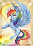 2016 blue_fur cutie_mark dennyvixen equine feathered_wings feathers female feral friendship_is_magic fur hair mammal multicolored_hair multicolored_tail my_little_pony pegasus rainbow_dash_(mlp) rainbow_hair rainbow_tail red_eyes smile solo spread_wings teeth wings