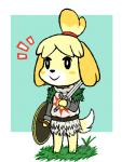 animal_crossing anthro armor canine cosplay dark_souls dog female isabelle_(animal_crossing) mammal melee_weapon nintendo shield simple_background solaire_of_astora solo sword unknown_artist video_games weapon