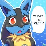 2016 ambiguous_gender anthro black_fur black_hair blue_background blue_fur bust_portrait canine confusion cute_fangs dialogue english_text eyebrows front_view fur gradient_background hair lol_comments long_hair looking_at_viewer lucario mammal multicolored_fur nervous nintendo open_mouth pattern_background pink_tongue pokémon pokémon_(species) portrait reaction_image red_eyes simple_background solo speech_bubble sweat tan_belly tan_fur tarka_(artist) teeth text tongue video_games