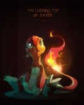 2013 ambiguous_gender blue_eyes charmeleon claws cute dragibuz english_text feral fire flaming_tail lizard nintendo orange_skin pokémon pokémon_(species) reptile scalie sitting solo teeth text video_games