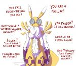 ! ? absurd_res anthro breasts canine clothing crying data_(wouhlven) dialogue digimon english_text eyewear fan_character female fur glasses gloves hi_res insult long_ears mammal navel nude question renamon simple_background smile solo standing tears text thick_thighs white_background wouhlvenRating: SafeScore: 3User: slyroonDate: August 26, 2017