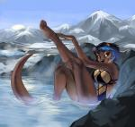 anthro breasts clothed clothing demicoeur female hair looking_at_viewer mammal mustelid otter outside partially_submerged sitting smile solo swimsuitRating: SafeScore: 8User: Cat-in-FlightDate: May 21, 2018