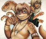 3_fingers 4_fingers 5_fingers anthro arm_markings armlet black_nose blonde_hair blue_eyes brown_eyes brown_fur brown_hair brown_scales brown_skin clothed clothing dinosaur elf female fist fur group hair humanoid jewelry looking_aside looking_at_viewer lutrai male mammal markings mustelid necklace off_shoulder ollie_canal open_mouth otter pointy_ears raised_tail raptor scales scalie sharp_teeth short_hair simple_background smile teeth theropod tongue topless tribal white_background yellow_sclera