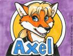 2014 ambiguous_gender anthro axelfox_(character) badge canine fox mammal marker_(artwork) mixed_media name_badge pen_(artwork) solo terrie_smith traditional_media_(artwork)